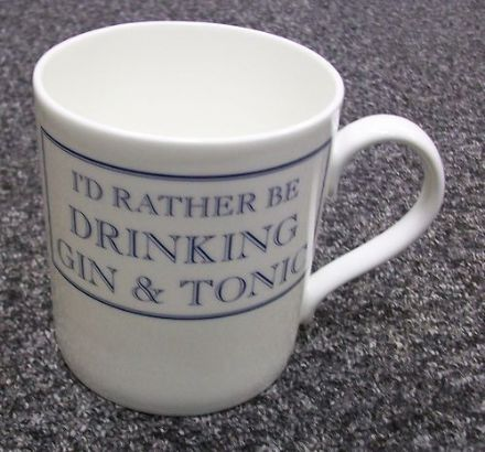 """I'd Rather Be Drinking Gin and Tonic"" fine bone china mug from Stubbs Mugs"